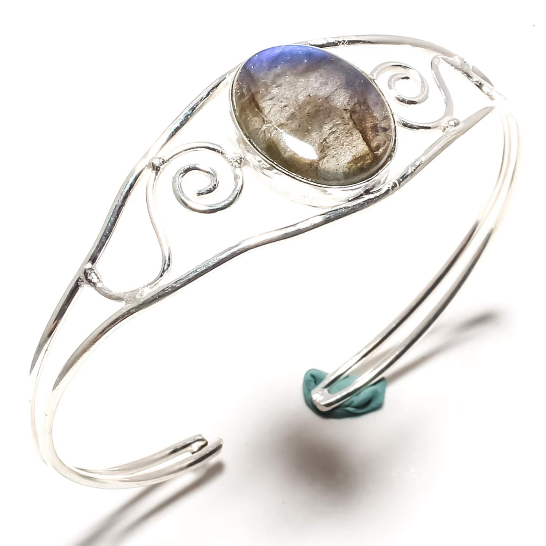 Stunning Labradorite Gemstone Bangle Kada Handmade 925 Sterling Silver Plated Jewelry Adjustable Size Cuff Bracelet SF-1614