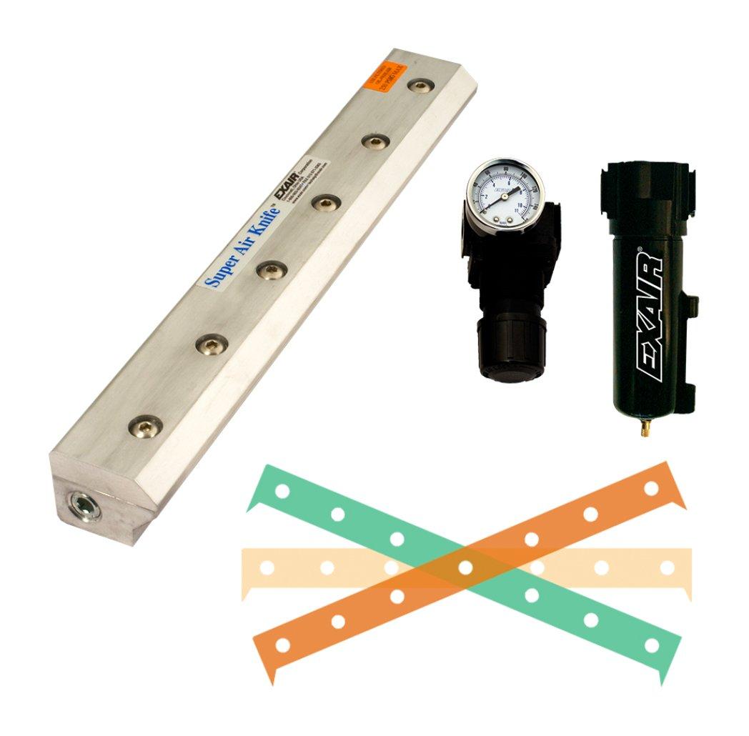 EXAIR 110296 Super Air Knife Kit, 2.9 SCFM per Inch Maximum Flow Rate, 80 psig