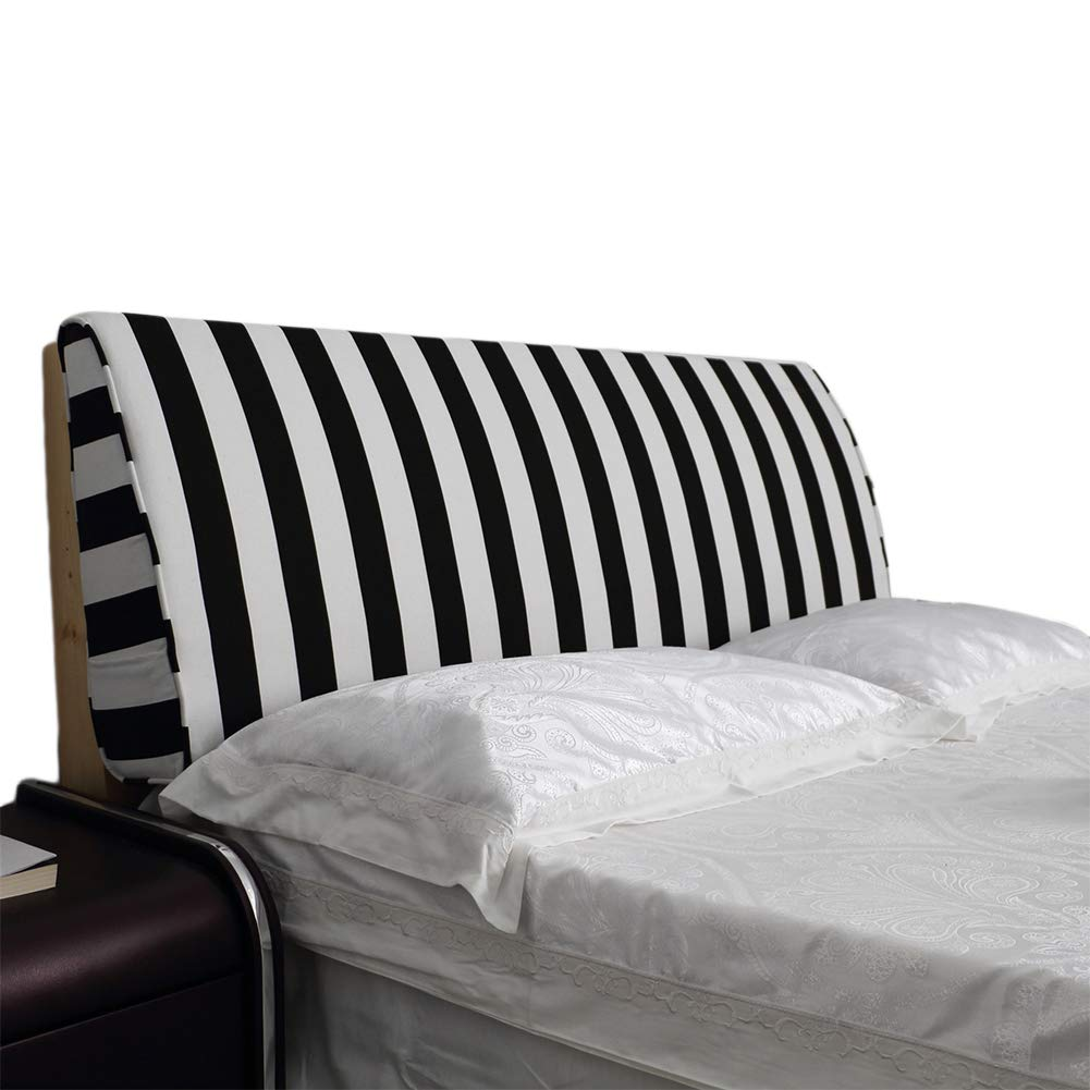 Roner Headboard Pillow Positioning Support Large Double Bed Backrest Wall Lumbar Pad Pillow Bedroom Decor Removable Washable Cover Striped Black White 79x20x6 Inches