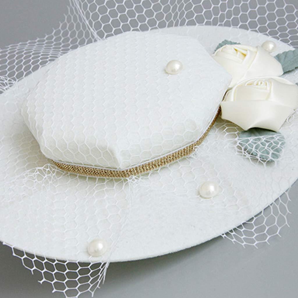 Rhfemd Women European Style Palace Fascinator Pillbox Hat Gird Mesh Rose Flower Banquet Wedding Veil Hair Clips