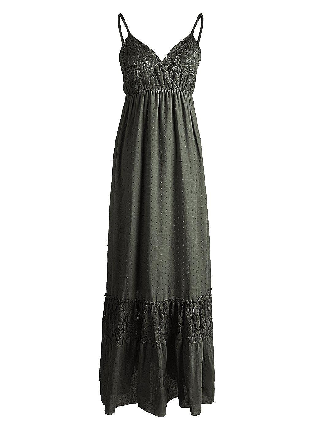 Anna-Kaci Womens Adjustable Strap Boho Lace White Sleeveless Long Maxi Dress