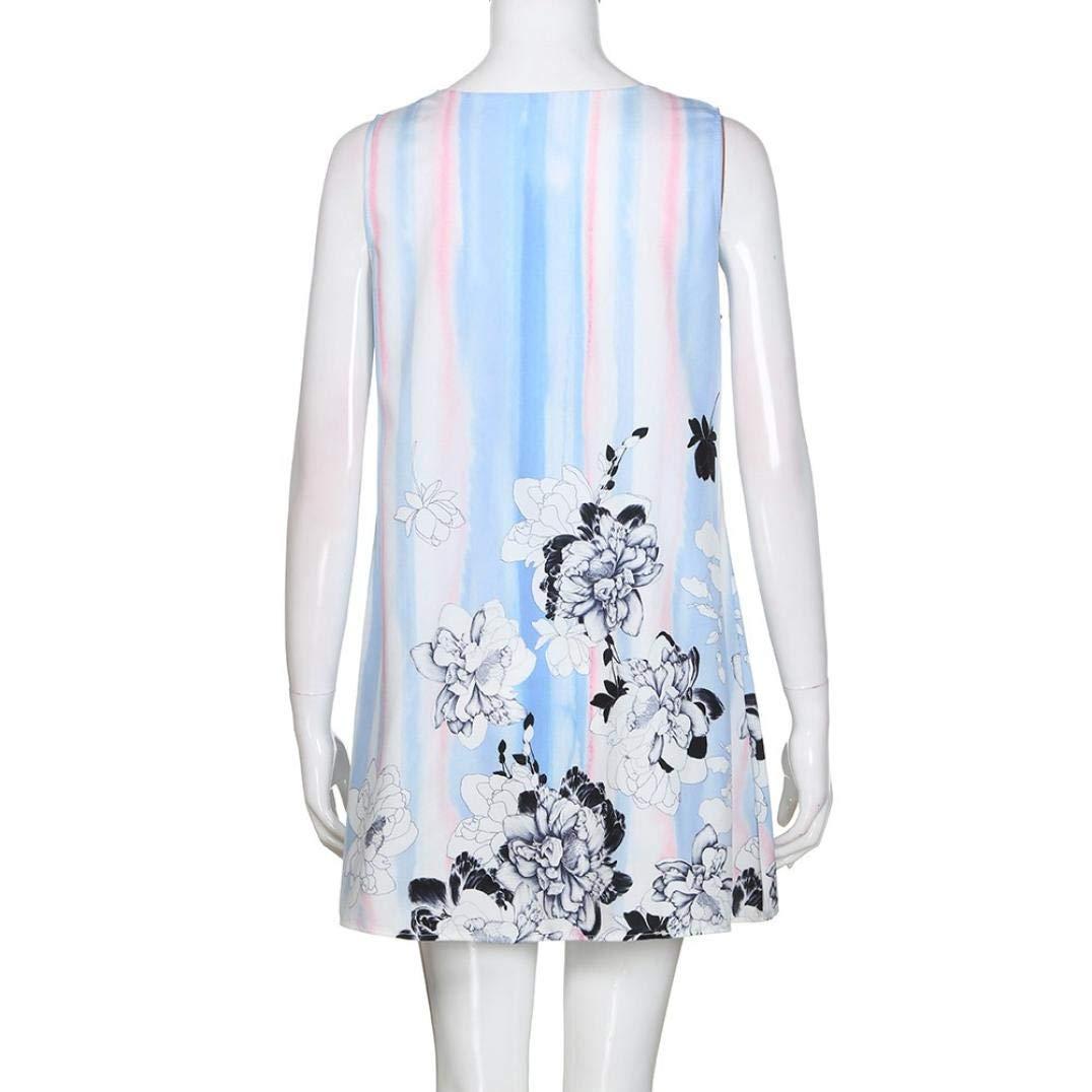 UONQD 2019d Short Sleeve Round Neck Triple Color Block Stripe T-Shirt Casual Blouse(Small,e-Blue) by UONQD (Image #6)