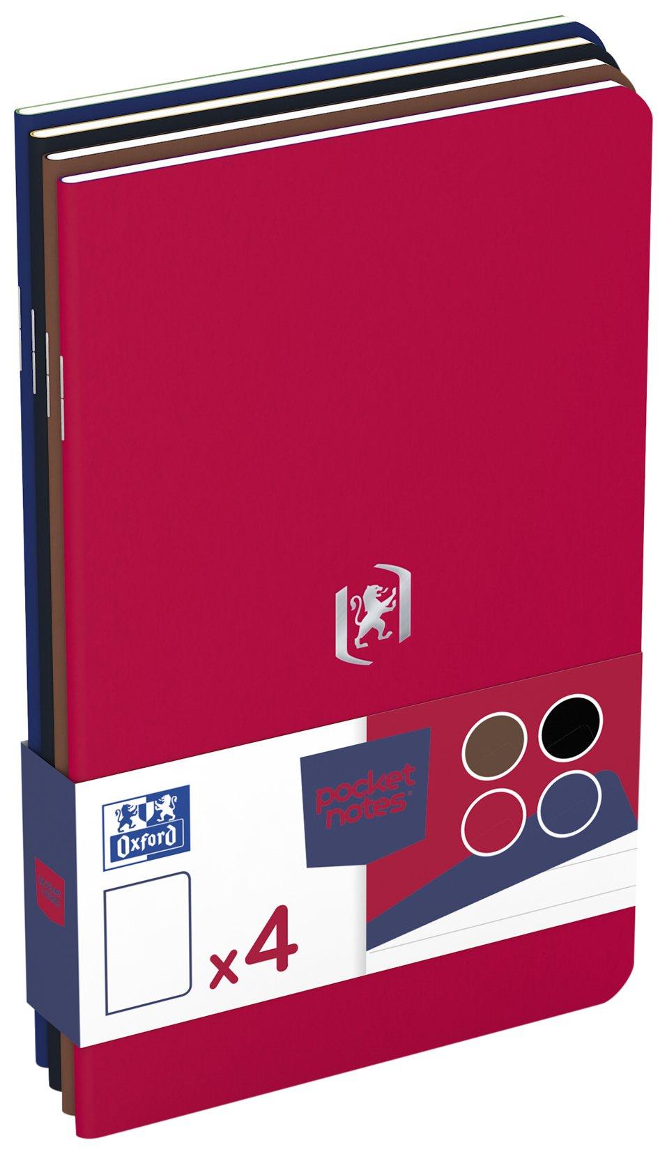 Oxford Notepad, Pocket Notes Pack of 4 4 Items Rot, Schwarz, Braun, Royalblau
