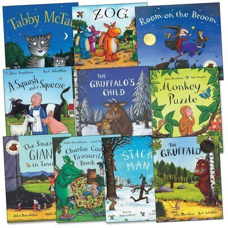 Julia Donaldson and Axel Scheffler Pack, 10 books, RRP 69.90 (A Squash and a Squeeze; Charlie Cook's Favourite Book; Monkey Puzzle; Room on the Broom; Stick Man; Tabby McTat; The Gruffalo; The Gruffalo's Child; The Smartest Giant in Town; Zog).