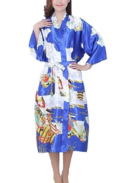 ECHERY las Mujeres Largas de Estilo Kimono de Satén de Seda, Suaves Batas de Baño Vestido de Pijama: Amazon.es: Ropa y accesorios