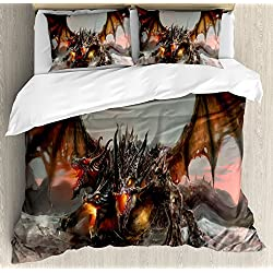 Ambesonne Fantasy World Duvet Cover Set King Size, Illustration of Three Headed Fire Breathing Dragon Large Monster Gothic Theme, Decorative 3 Piece Bedding Set with 2 Pillow Shams, Brown Grey