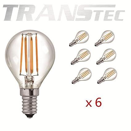 TRANSTEC® 6 x Vintage de filamentos LED pelota de Golf bombilla G45 – Bombilla LED