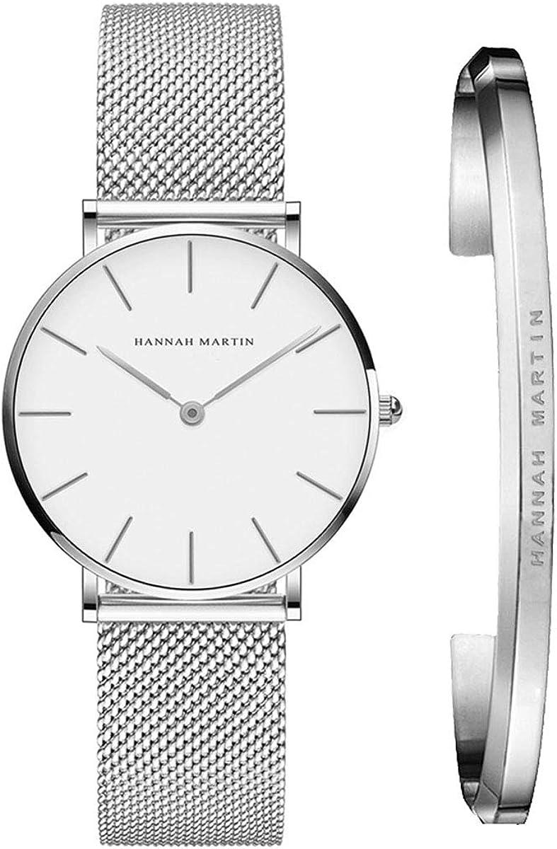 Reloj de pulsera de cuarzo para mujer, minimalista, impermeable, con correa de malla, con brazalete