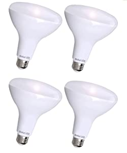 BR40 LED Bulb by Bioluz LED, Dimmable Indoor/Outdoor 100W Replacement (Uses 13W) Soft White 3000K 110° Beam Angle, Standard Medium Base UL-Listed (Pack of 4)