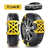 BESAZW [Newest Version] Car Anti-skid Snow Chains Portable Adjustable Emergency Belting Straps Anti Slip Tire Security Chains Commercial Truck Accessories 6 PCS