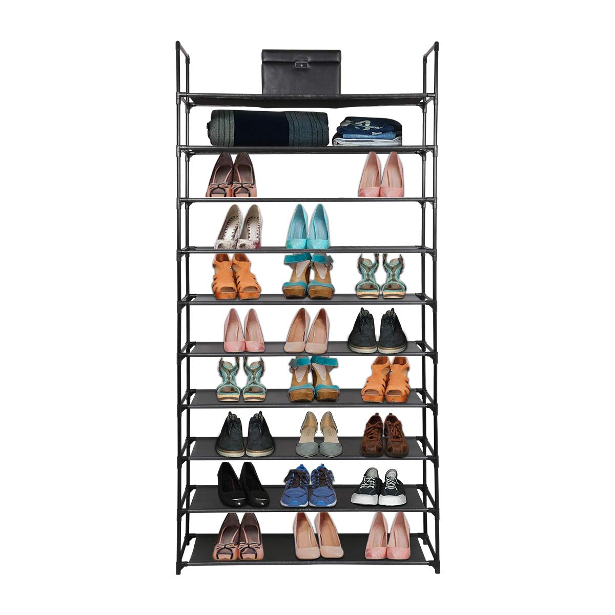 88 x 28 x 160 cm Negro Organizador de Tela de Zapatos Zapatero con 9 estantes Cajas de Almacenamiento