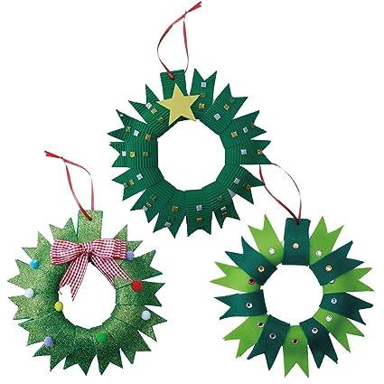 Amazon Com Amosfun 3 Sets Christmas Wreath Crafts Fabric Xmas Tree