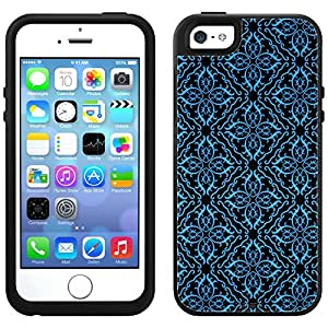 Skin Decal for OtterBox Symmetry Apple iPhone 5 Case - Victorian Royalty Blue on Black