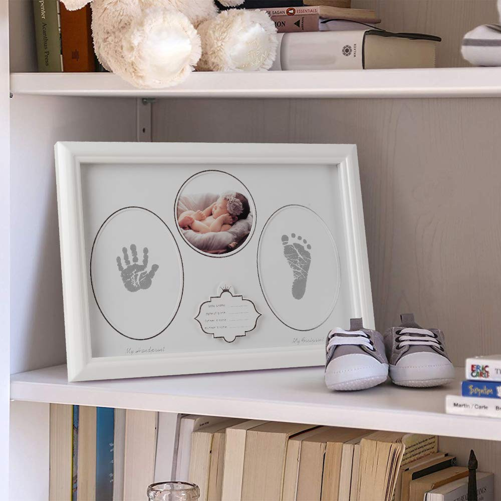 Babies Handprint /& Footprint for Keepsake Photo Wooden Frames for New Moms Olele Baby Picture Frame