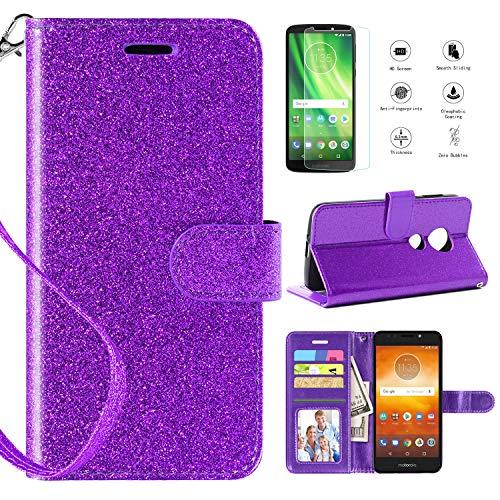 Motorola Moto E5 Cruise Case, Moto E5 Play Case w Screen Protector (not fit E5),Kickstand Card Slots Wrist Strap 2 in 1 Glitter Magnetic Flip PU Leather Wallet Cover Compatible Moto E5 Play,Purple