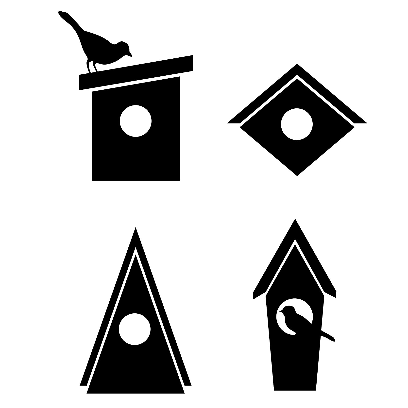 Birdhouses Icons Pattern - 20 Icons - Vinyl Wall Art Decal for Homes, Offices, Kids Rooms, Nurseries, Schools, High Schools, Colleges, Universities, Interior Designers, Architects, Remodelers