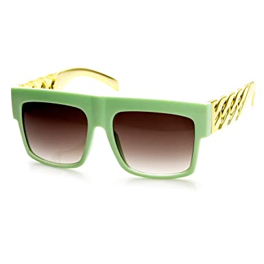 zeroUV - Colorful High Fashion Gold Chain Flat Top Square Aviator Sunglasses  (Green-Gold 6702c92f3f