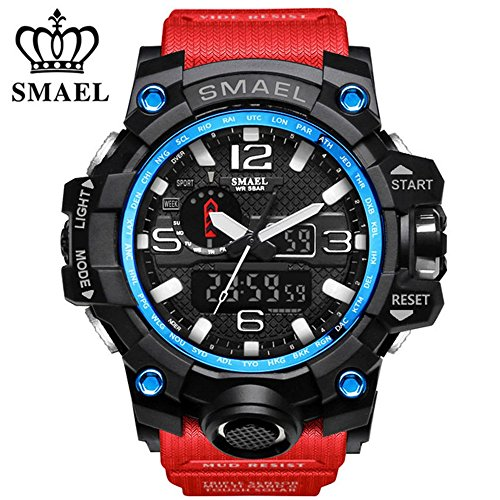 SMAEL Men's Sports Analog Quartz Watch Dual Display Waterproof Digital Watches with LED Backlight relogio masculino (Red Black)