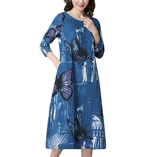 Amazon Com Women S Linen Butterfly Print Loose Plus Size Long