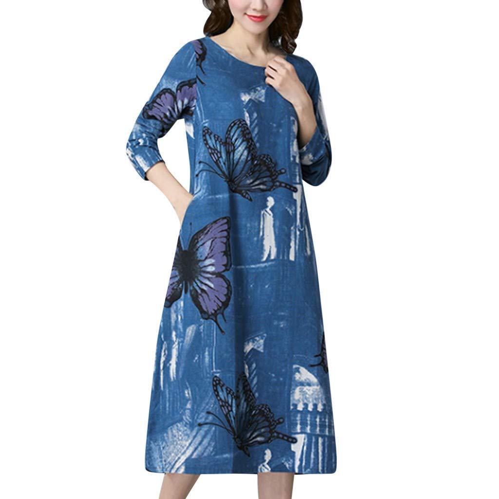 Keliay Bargain Women's Linen Butterfly Print Loose Plus Size Long Sleeve Round Neck Dress