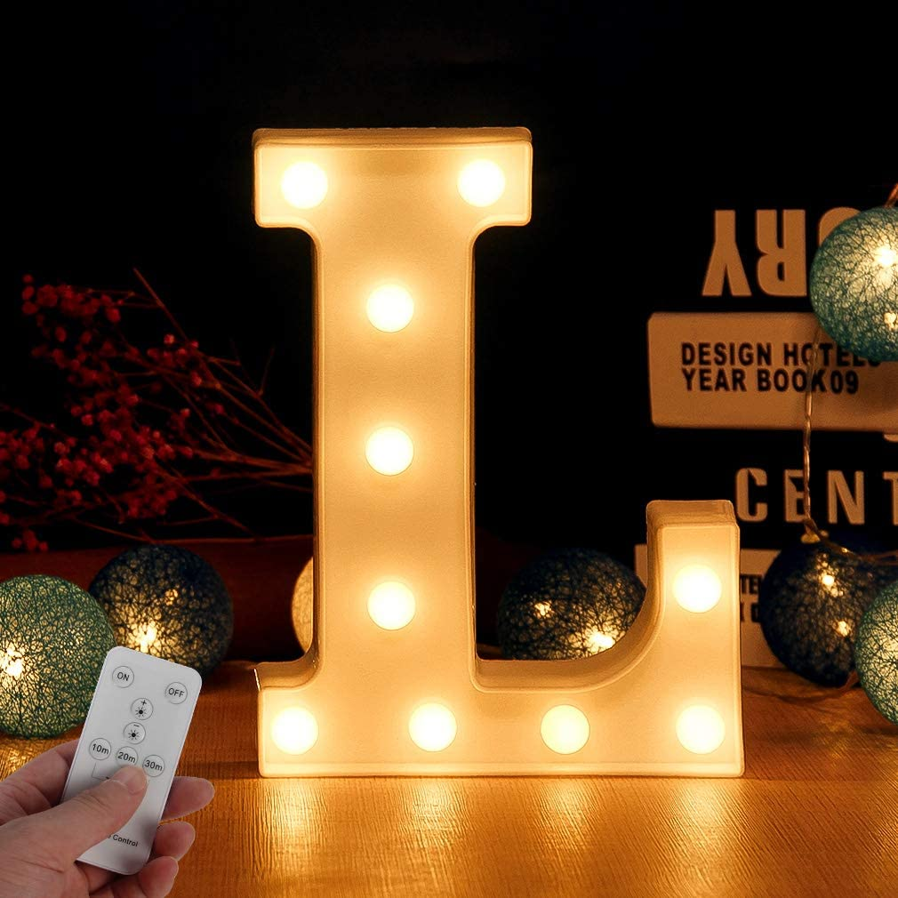 Letra LED de alfabeto con temporizador inalámbrico, mando a distancia, regulable, decoración para cumpleaños, bodas, vacaciones, casa, bar (letra L)