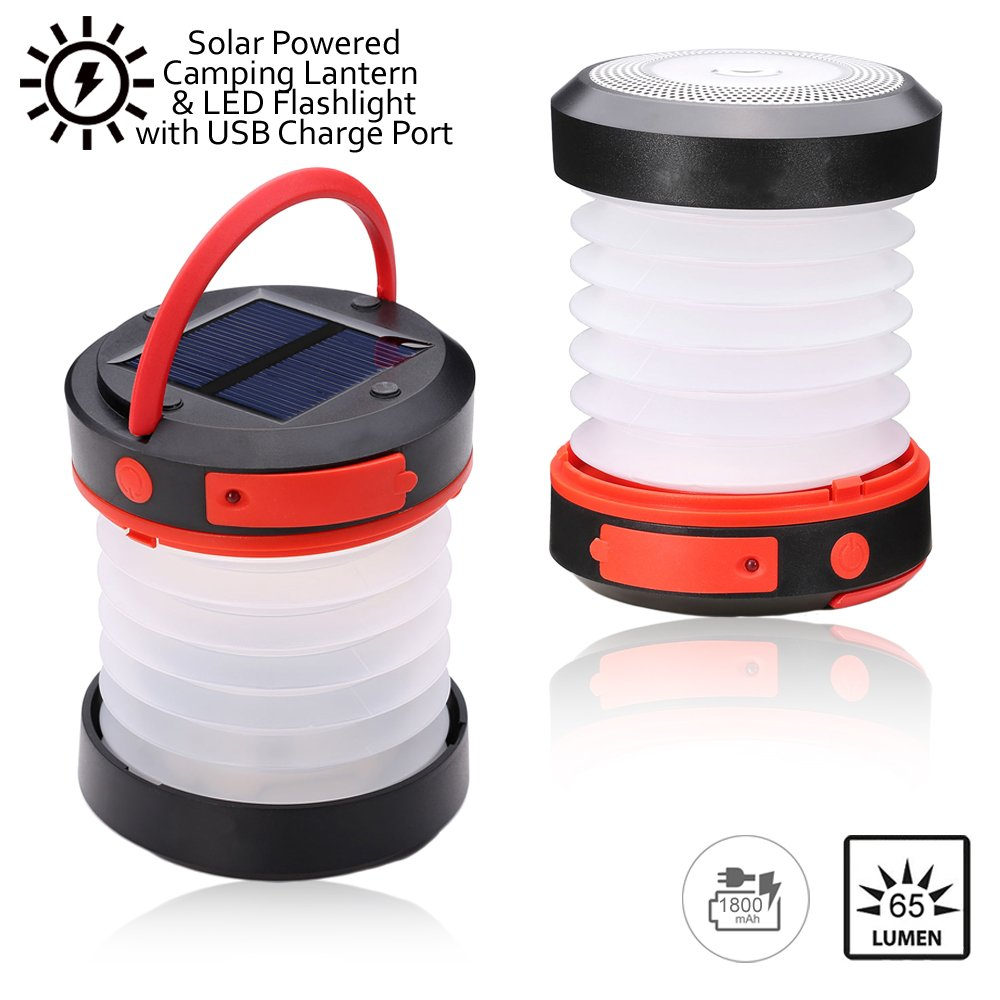 Indigi Solar Powered LED Camping Lantern - Solar or USB Charge, Collapsible Space Saving Design, Emergency Power Bank, Flashlight, Water Resistant. For Outdoor Night Hiking Camping Tent Lawn Patio!