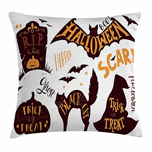 Starohou Vintage Halloween Throw Pillow Cushion Cover, Halloween Symbols Trick or Treat Bat Tombstone Ghost Candy Scary, Decorative Square Accent Pillow Case, 18 X 18 Inches, Dark Brown (Tombstone Quotes For Halloween)