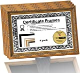 8.5x5.5 or 5.5x8.5 inch Professional Decorative Gold Leaf Business License Certificate Frame, Self Standing Portrait or Landscape with Wall Hanger (4 Pack)