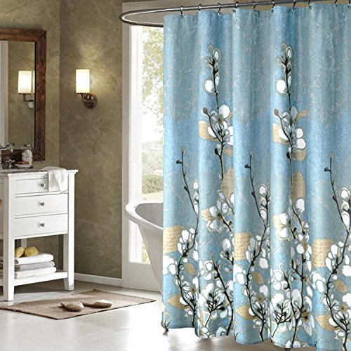 Tamisky Retro Magnolia Pattern Fabric Shower Curtains Liners for Bathroom Can be Screen Curtains Waterproof Mildew-Free Water-Repellent Metal Grommets Heavy Weighted Hem ,72x72Inch - Ring Basin Liner