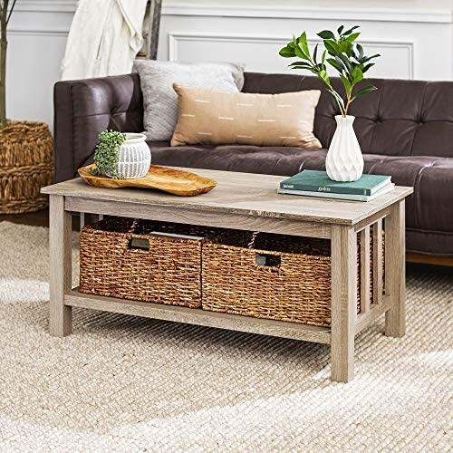 Walker Edison Alayna Mission Style Two Tier Coffee Table With Rattan Storage Baskets 40 Inch Grey Brown Furniture Decor Amazon Com