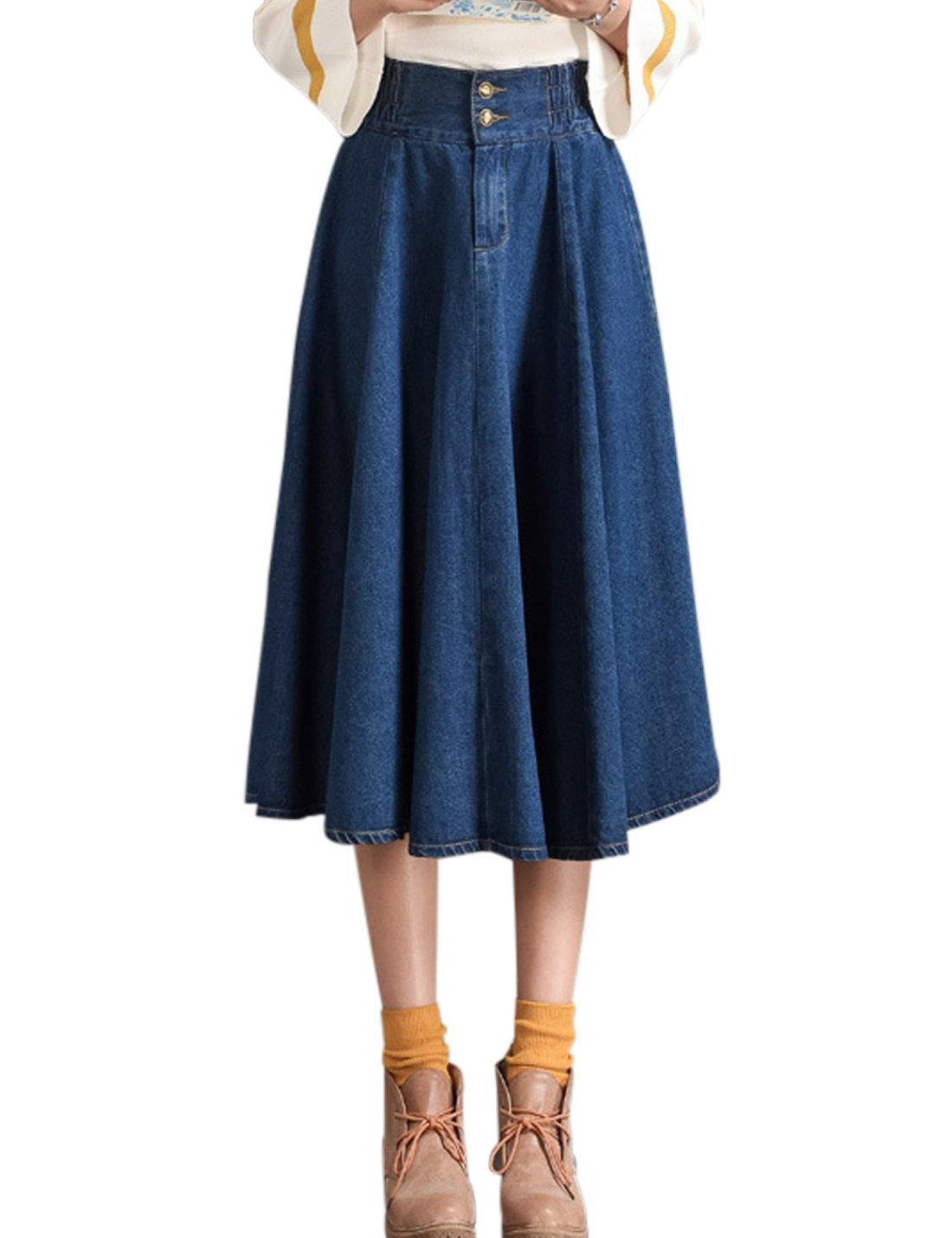 18e5d6b648 Tanming Women s Elastic Waist A-Line Pleated Midi Denim Skirt ...