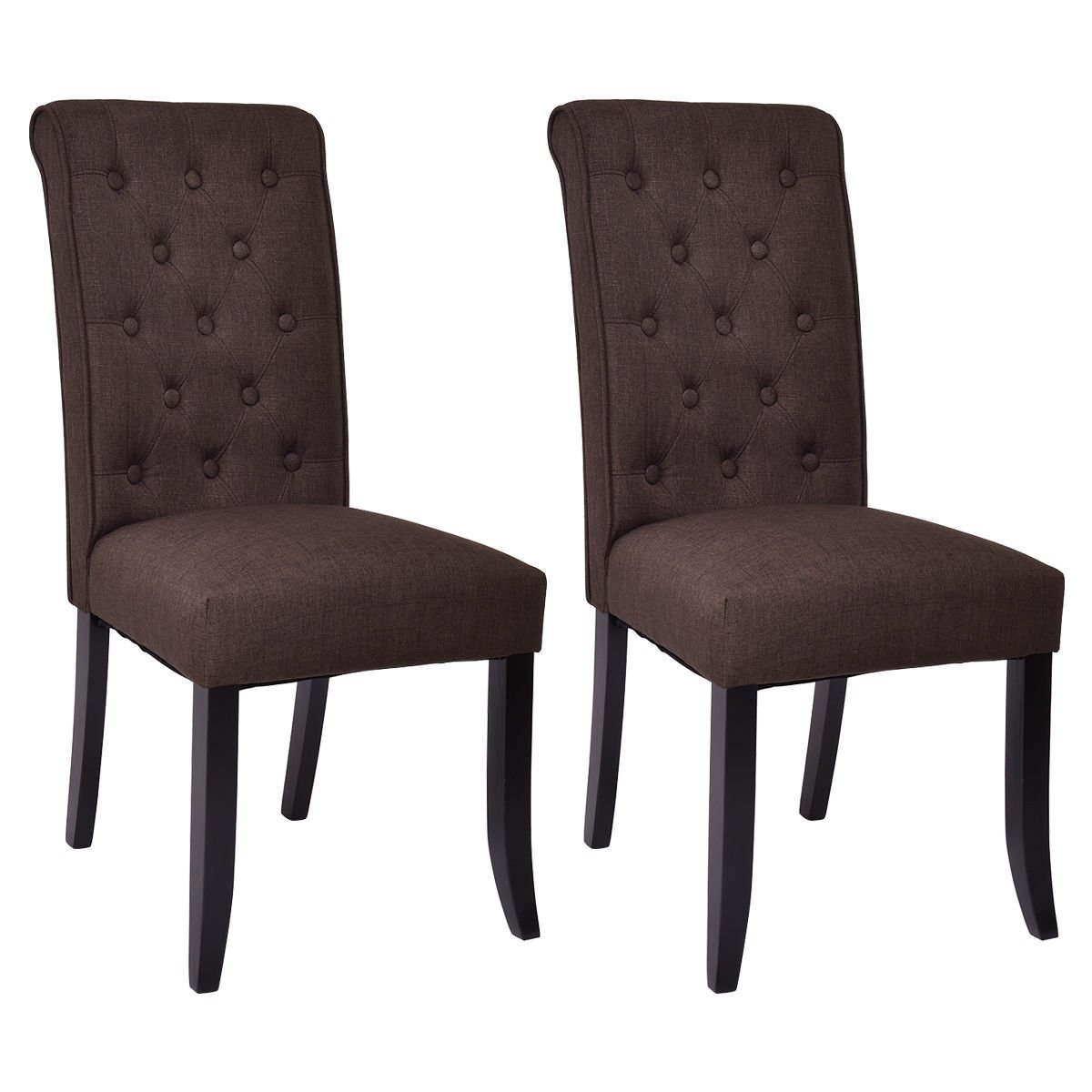 Giantex Set of 2 Dining Chairs Fabric Upholstered Tufted Armless Accent Home Kitchen (Brown)