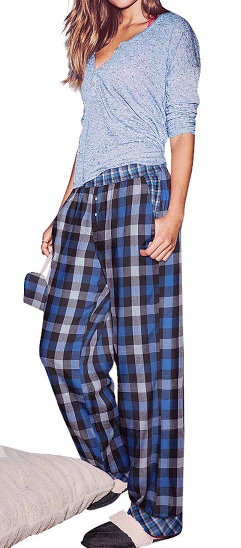 Victoria's Secret, Women's The Dreamer Henley Blue Plaid Pajama 2 Piece PJ Set Small