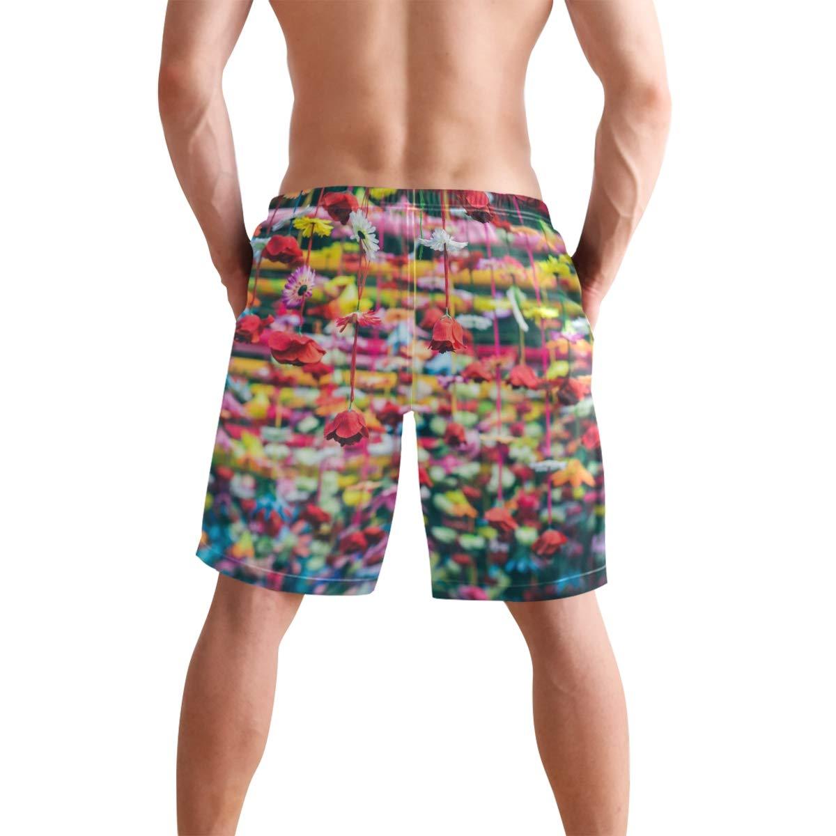CiCily Men/'s Swim Trunks Colorful Flower Beach Board Shorts Swimming Short Pants Running Sports Surffing Shorts