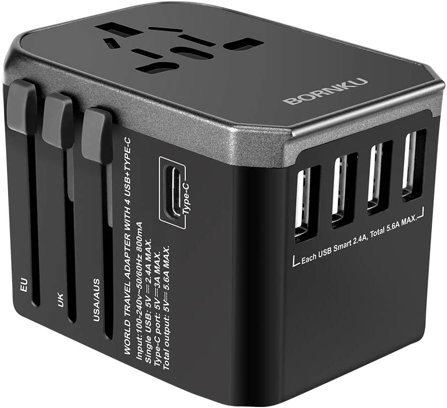 BORNKU Universal Travel Adapter - One Worldwide International Wall Charger AC Plug Adaptor with 5.6A Smart Power and 3.0A USB Type-C For USA EU UK AUS Cell Phone Tablet Laptop - Black (Black-02)