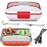 YOUDirect Electric Heating Lunch Box - Portable Bento Meal Heater Car Food Warmer Stainless Steel Plug Heating Food Container Leak-Resistant Reusable Electronic Food Boxes for Car Use (Red)