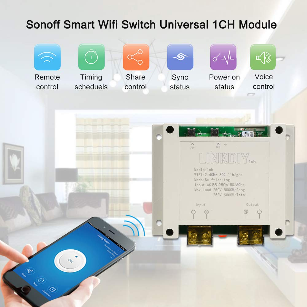 Sonoff Smart WiFi Switch, 1CH AC85-250V Wireless Switch Module Universal  Timer APP Remote Control Compatible with Alexa Google Home/Nest,IFTTT for