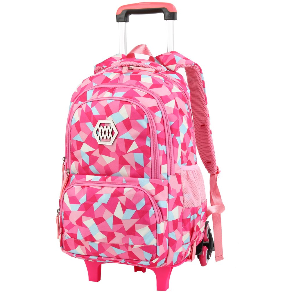 4cbfd1c032 VBIGER Girls Wheeled Backpack Adorable Trolley School Bag for Primary School  - Rosy  Amazon.in  Bags