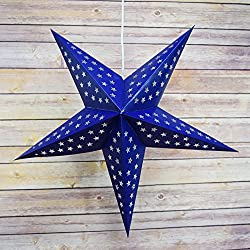 "Quasimoon PaperLanternStore.com 24"" Navy/Dark Blue Paper Star Lantern, Hanging Decoration"