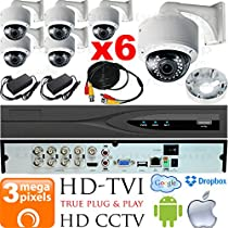 USG Business Grade 3MP HD-TVI 6x Camera CCTV Kit : 6x 2.8-12mm BNC Dome Cameras w/ Wall Mount Bracket & Deep Base + 1x 8 Channel 3MP DVR + 1x 4TB HDD + 6x 100ft CCTV Cable + 2x 4 Channel Power Supply