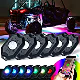 Xprite 3rd-Gen 6 Pods Multicolor RGB LED Rock Light Kit with Bluetooth Controller, Timing Function, and Music Mode