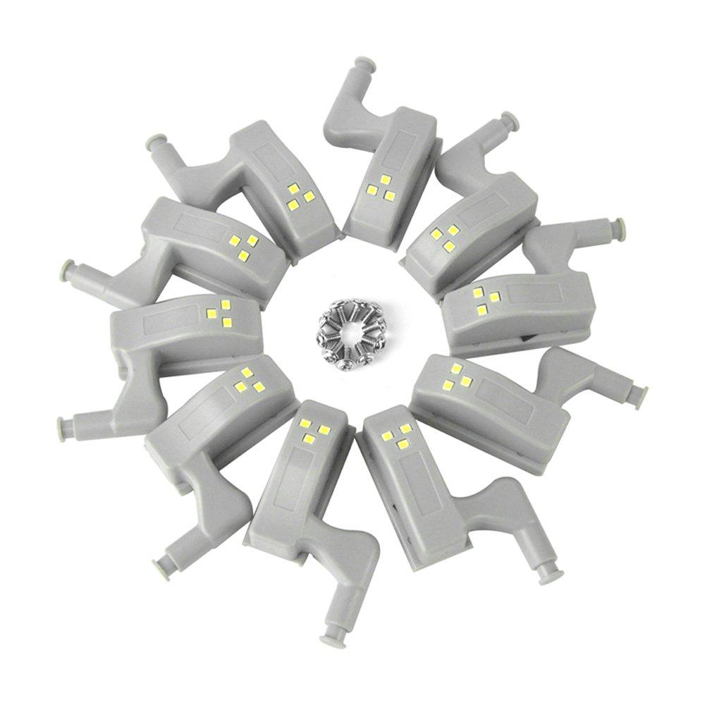 10pcs 0.25W Charnière LED Lumière du capteur Pour Cuisine Lounge Chambre Lampe de Nuit Penderie Cabinet Veilleuse