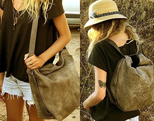 Leather shoulder backpack bag in Distressed taupe soft convertible purse by Leather Bags and Accessories Handmade by Limor Galili