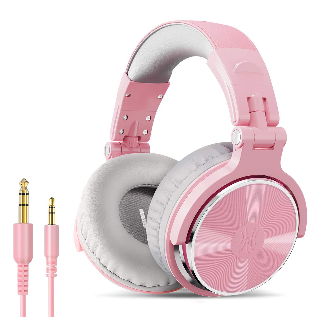 OneOdio Over Ear Headphone, Wired Bass Headsets with 50mm Driver, Foldable Lightweight Headphones with Shareport and Mic for Recording Monitoring Mixing Podcast Guitar PC TV (Light Pink)