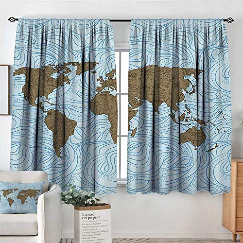 "All of better Floral World Map Patterned Drape for Glass Door World Map with Wavy Ocean Lines Flower Continent Icons Artful Image Blackout Draperies for Bedroom 72"" W x 84"" L Cocoa Pale Blue"