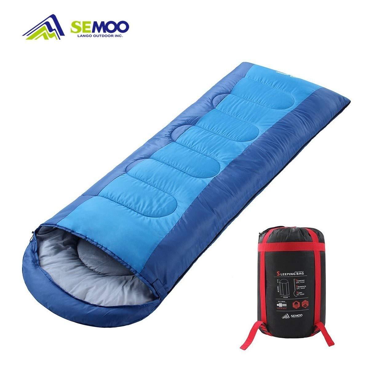 Semoo Saco de Dormir Impermeable, de 10-22ºC, 190T, Encapuchado para Adultos, con Bolsa de Compresión product image