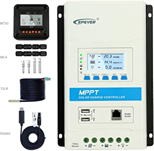 EPEVER mppt 30a Solar Charge Controller+MT50 Remote Controller kit, 12V 24V System Voltage Negative Ground Remote Control with TS-R RS485 Lead-Acid&Lithium Support