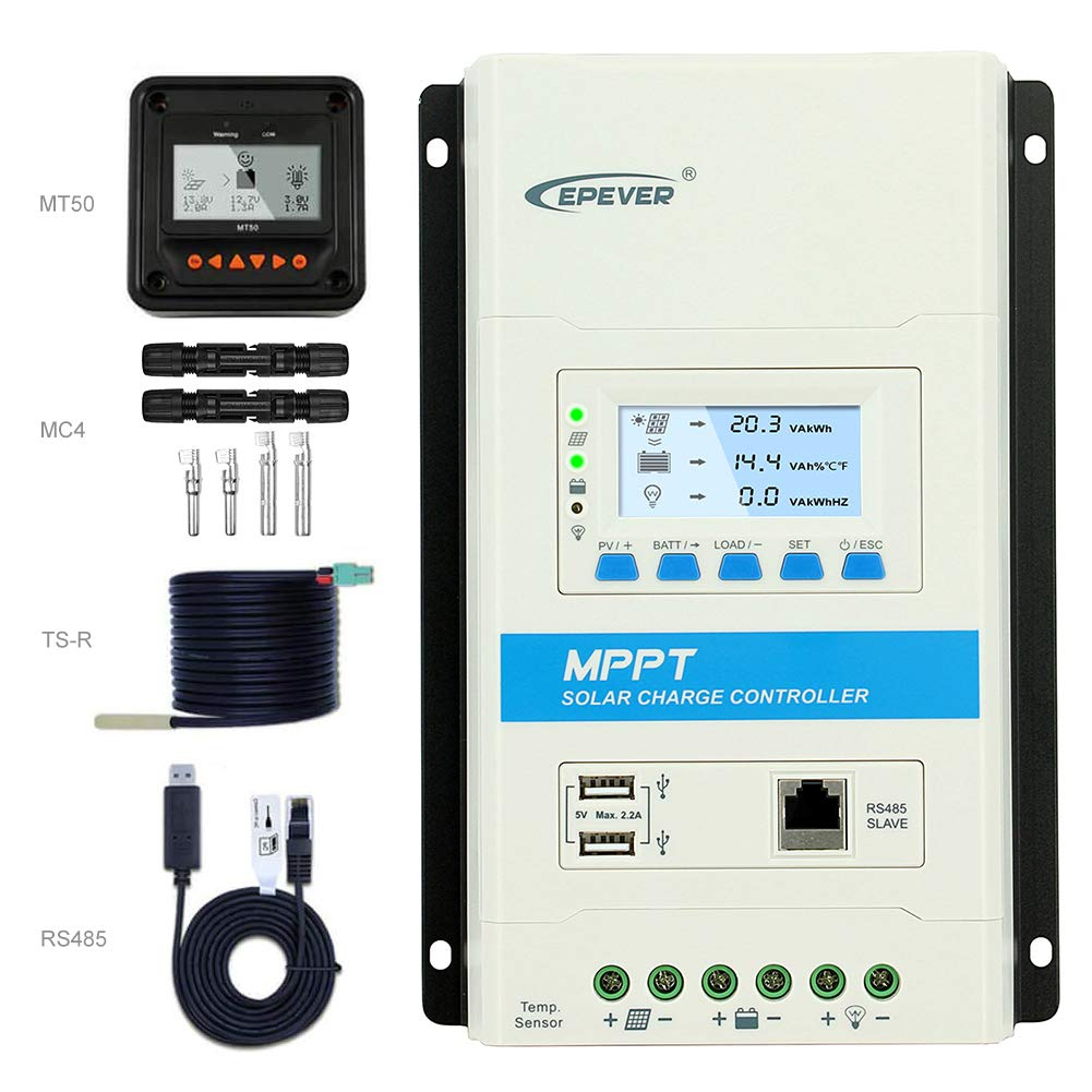 EPEVER 40a Solar Charge Controller+MT50 Remote Controller Set, TRIRON 4210N 40 amps 12V 24V Lead-Acid&Lithium Support