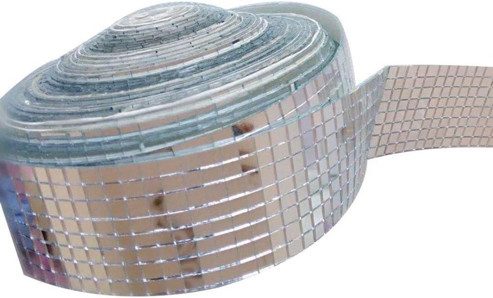 palla decorazioni per la casa 1.0M length Rotolo di mosaico a specchio con mini specchi quadrati in vero vetro per lavori fai da te