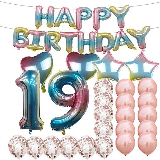Adornos para fiesta de 19º cumpleaños, globos de látex de ...